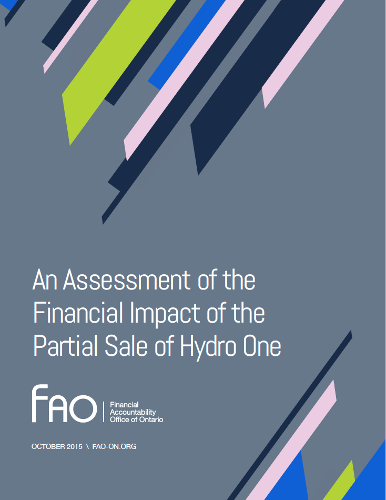 An Assessment of the  Financial Impact of the Partial Sale of Hydro One
