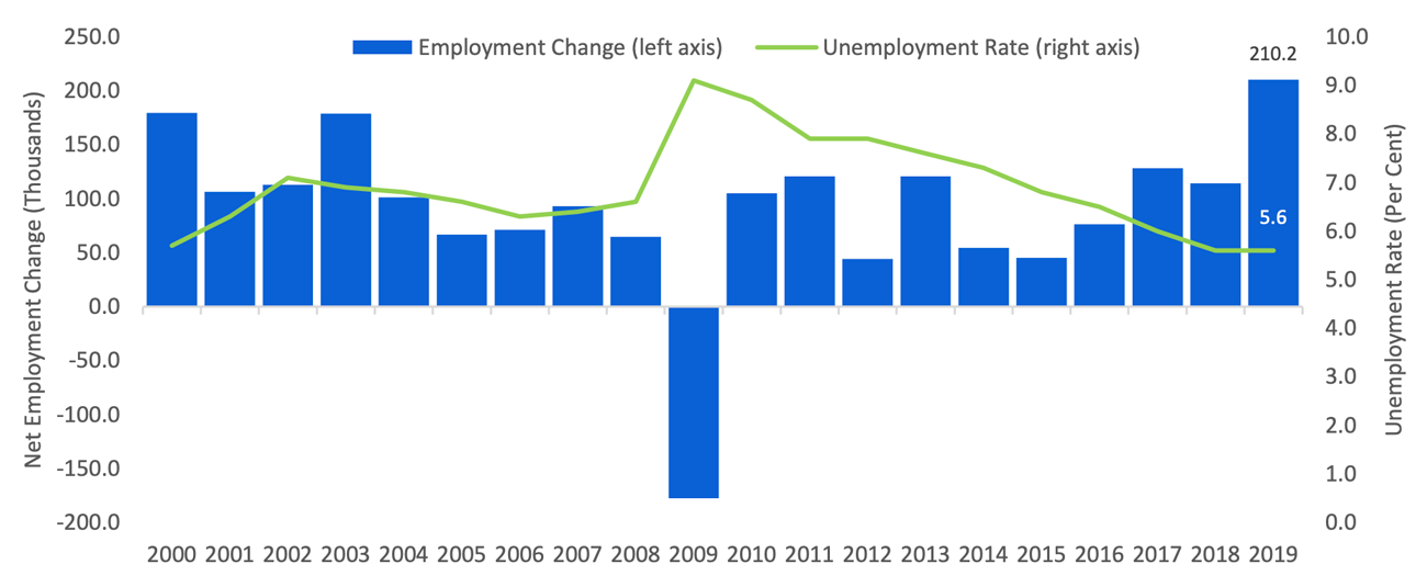 Strong employment gains, but the unemployment rate held steady in 2019